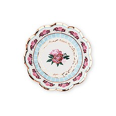 Small Round Disposable Paper Party Plates - Modern Floral Tea Party - Set of 8