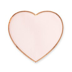Large Heart Disposable Paper Party Plates - Rose Gold - Set of 8