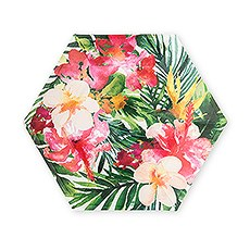 Large Hexagon Disposable Paper Party Plates - Tropical Floral - Set of 8