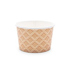 Disposable 8 oz. Paper Ice Cream Dessert Cups - Waffle - Set of 8
