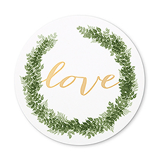 Round Paper Drink Coasters - Love Wreath - Set of 12
