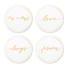 Round Paper Drink Coasters - Mr and Mrs Collection - Set of 12
