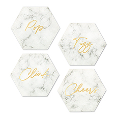 Hexagonal Paper Drink Coasters - Geo Marble Collection - Set of 12