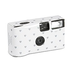 Disposable Camera with Flash - Silver Hearts