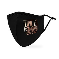 Personalized Adult Wedding Reusable, Washable 3 Ply Cloth Face Mask - Love Is Contagious
