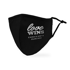 Personalized Adult Wedding Reusable, Washable 3 Ply Cloth Face Mask - Love Wins