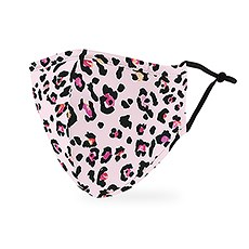 Adult Reusable, Washable 3 Ply Cloth Face Mask With Filter Pocket - Pink Leopard Print