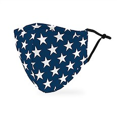 Adult Reusable, Washable 3 Ply Cloth Face Mask With Filter Pocket - Navy Stars