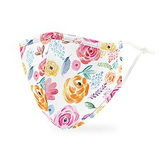 Adult Reusable, Washable 3 Ply Cloth Face Mask With Filter Pocket - Watercolor Rose