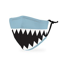 Kid's Reusable, Washable 3 Ply Cloth Face Mask With Filter Pocket - Shark Tooth