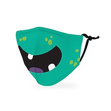 Kid's Reusable, Washable 3 Ply Cloth Face Mask With Filter Pocket - Little Green Monster