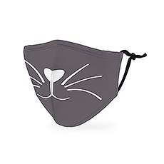 Kid's Reusable, Washable Cloth Face Mask With Filter Pocket - Grey Kitty