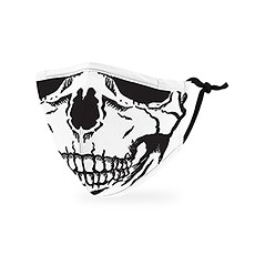 Kid's Reusable, Washable 3 Ply Cloth Face Mask With Filter Pocket - Skull