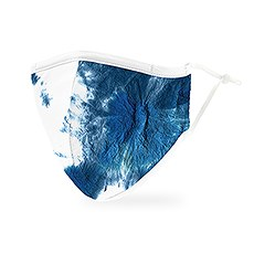 Adult Reusable, Washable Cloth Face Mask With Filter Pocket - Blue Tie-Dye