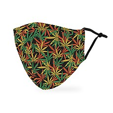 Adult Reusable, Washable 3 Ply Cloth Face Mask With Filter Pocket - Cannabis Leaf