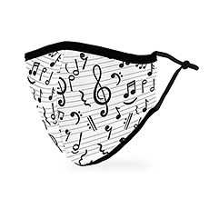 Adult Reusable, Washable Cloth Face Mask With Filter Pocket - Music Notes