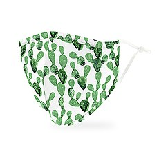 Adult Reusable, Washable 3 Ply Cloth Face Mask With Filter Pocket - Cactus