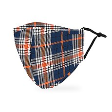 Adult Reusable, Washable Cloth Face Mask With Filter Pocket - Navy Plaid