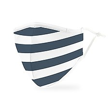 Adult Reusable, Washable 3 Ply Cloth Face Mask With Filter Pocket - Navy Stripes