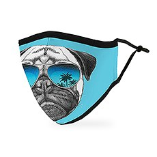 Adult Reusable, Washable Cloth Face Mask With Filter Pocket - Shades Pug