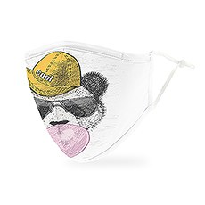 Adult Reusable, Washable Cloth Face Mask With Filter Pocket - Hipster Panda