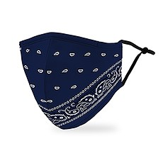 Adult Reusable, Washable 3 Ply Cloth Face Mask With Filter Pocket - Blue Bandanna