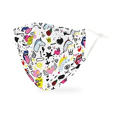 Adult Reusable, Washable 3 Ply Cloth Face Mask With Filter Pocket - Doodles