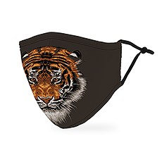 Adult Reusable, Washable 3 Ply Cloth Face Mask With Filter Pocket - Tiger