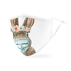 Adult Reusable, Washable Cloth Face Mask With Filter Pocket - Bunny