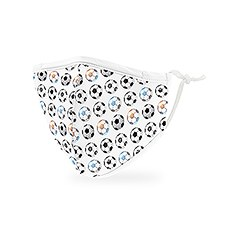 Kid's Reusable, Washable 3 Ply Cloth Face Mask With Filter Pocket - Soccer