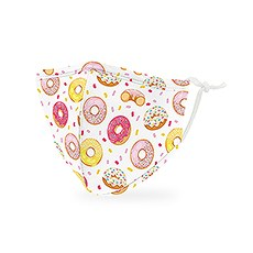 Kid's Reusable, Washable 3 Ply Cloth Face Mask With Filter Pocket - Donut