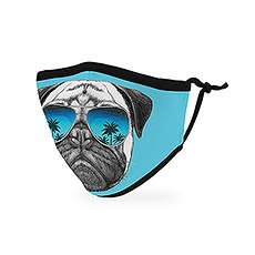 Kid's Reusable, Washable Cloth Face Mask With Filter Pocket - Shades Pug