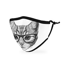 Kid's Reusable, Washable Cloth Face Mask With Filter Pocket - Nerdy Cat