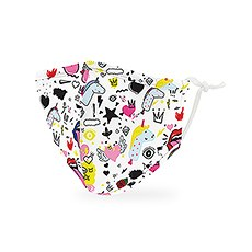 Kid's Reusable, Washable 3 Ply Cloth Face Mask With Filter Pocket - Doodles