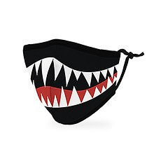 Kid's Reusable, Washable Cloth Face Mask With Filter Pocket - Monster Mouth
