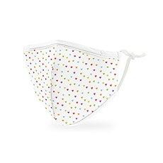 Kid's Reusable, Washable 3 Ply Cloth Face Mask With Filter Pocket - Heart Dots
