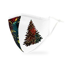 Adult Reusable, Washable Cloth Face Mask With Filter Pocket - Holiday Tree