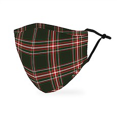 Adult Reusable, Washable 3 Ply Cloth Face Mask With Filter Pocket - Red & Green Plaid