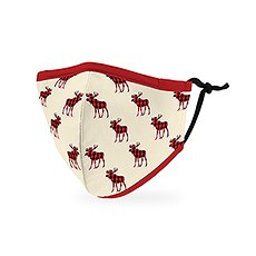 Kid's Reusable, Washable 3 Ply Cloth Face Mask With Filter Pocket - Buffalo Plaid Moose