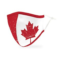 Adult Reusable, Washable 3 Ply Cloth Face Mask With Filter Pocket - Canadian Flag
