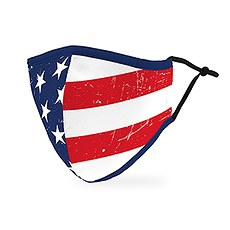 Adult Reusable, Washable 3 Ply Cloth Face Mask With Filter Pocket - American Flag
