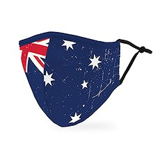 Adult Reusable, Washable 3 Ply Cloth Face Mask With Filter Pocket - Australian Flag