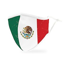 Adult Reusable, Washable 3 Ply Cloth Face Mask With Filter Pocket - Mexican Flag