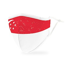 Adult Reusable, Washable 3 Ply Cloth Face Mask With Filter Pocket - Singapore Flag