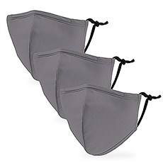 Variety 3-Pack Kid's Reusable, Washable 3 Ply Cloth Face Masks with Filter Pockets - Grey