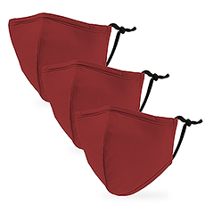 Variety 3-Pack Kid's Reusable, Washable 3 Ply Cloth Face Masks with Filter Pockets - Red