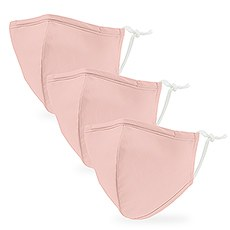 Variety 3-Pack Kid's Reusable, Washable 3 Ply Cloth Face Masks with Filter Pockets - Blush Pink