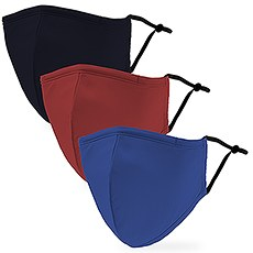 Variety 3-Pack Adult Reusable, Washable 3 Ply Cloth Face Masks with Filter Pockets - Primary