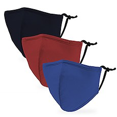 Variety 3-Pack Kid's Reusable, Washable 3 Ply Cloth Face Masks with Filter Pockets - Primary