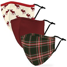 Variety 3-Pack Adult Reusable, Washable 3 Ply Cloth Face Masks with Filter Pockets - Plaid